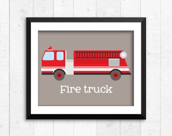 Trucks, transportation, boy art prints, fire truck print, construction art, baby nursery decor, kids wall art, nursery print, A-1006