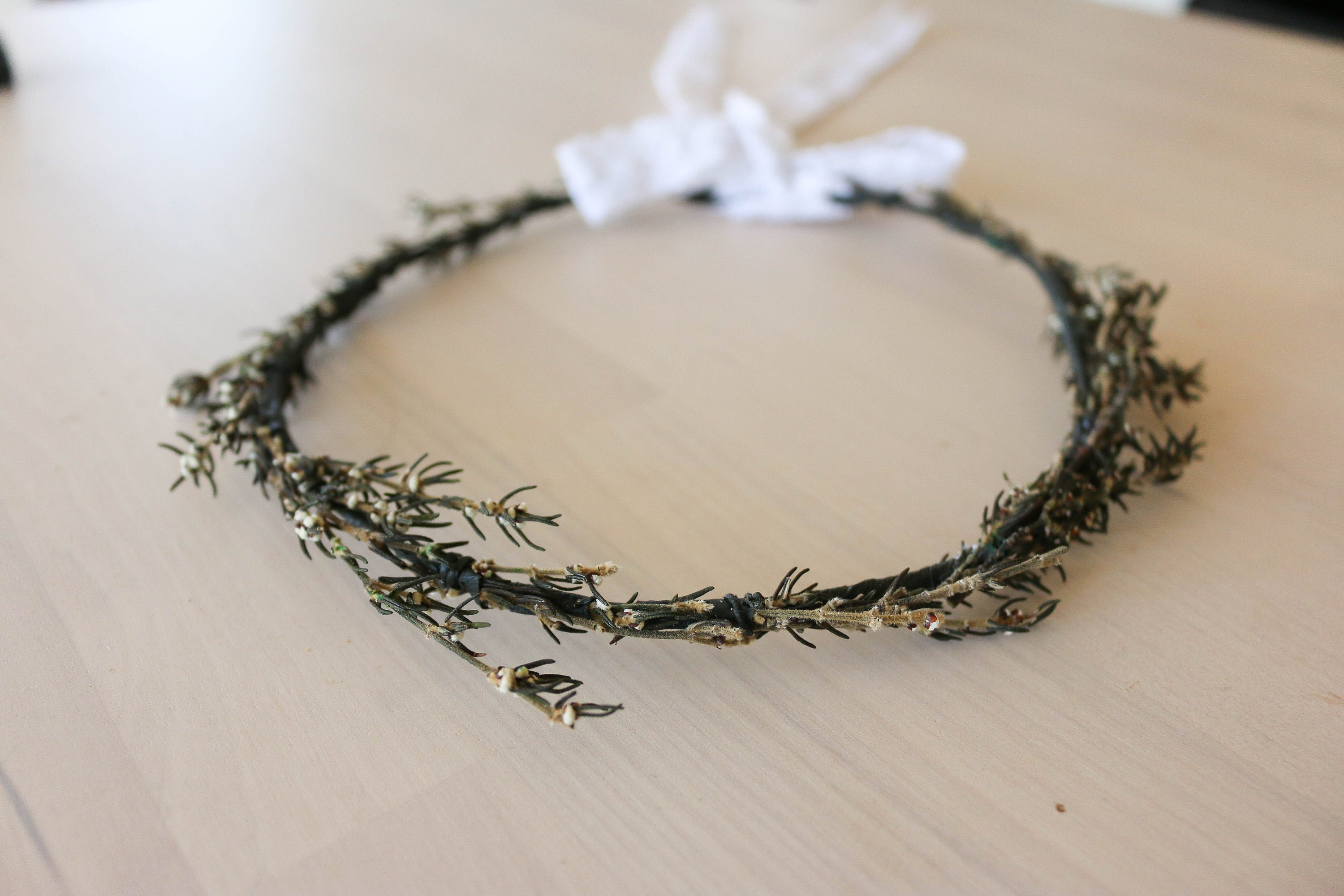 Dried Flower Crown Preserved Flowers Halo Whimsy Rustic Tree