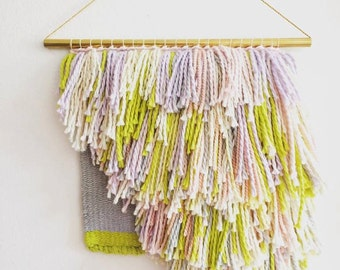 """TEMPORARILY UNAVAILABLE Handwoven 10"""" x 12"""" Tapestry Weaving With Lots of Pastel, Neon and Cream Shag (""""Pony"""")"""