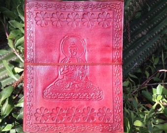 Leather Travel Journal - Buddha Design on Leather Sketchbook - Handmade Scrapbook - Leather Blank Book