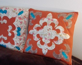 Handmade quilted patchwork pillow cover