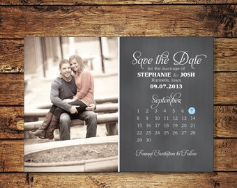 Save the Date Postcard, Save-the-Date Card, Calendar, Photo, DIY Printable, Digital File
