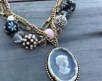 Clear Cameo Necklace/Statement Necklace/Multi Strand/Victorian/Edwardian