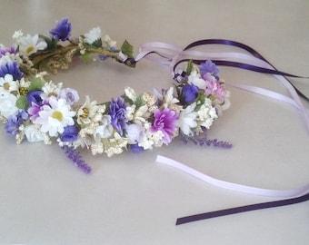 Silk Flower crown, Dried Floral look hair wreath Bridal headpiece lavender purple Wedding accessories garland halo circlet Australian brides