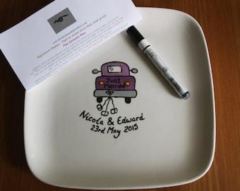 Personalised Wedding/Christening/Hen Night Signature Signing Plates Various Shapes Any Design