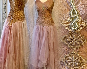 Boho  wedding dress fairy tale colors,bridal gown for faries,Elven wedding dress rustic,bohemian wedding with roses,bohemian wedding,rawrags