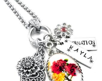 Flower Necklace, Birth Month Flower, Personalized Flower Jewelry, Birthday Flower Jewelry