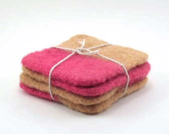 Felted wool coasters - square coaster set - color block coasters - apricot and pink