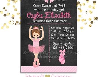 Ballerina Birthday Chalkboard Invitation, Baby Shower Invitation, Birthday Invite, Ballet Recital Invite, Pink Ballerina, Ballet, Ballerina