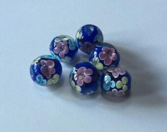 Flower Garden - Floral Lampwork Beads - 15mm - 6 beads
