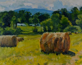 Original Oil Painting, Berkshire Landscape, Farm, Plein Air, Hay Bales, by Robert Lafond