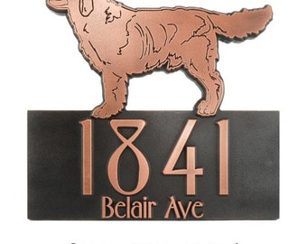 """Retriever Lab Dog Address Plaque, Canine Home Numbers, 16"""" W x 15"""" H Made in USA"""