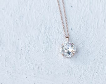 SALE Swarovski Crystal Rose Gold Pendant Necklace
