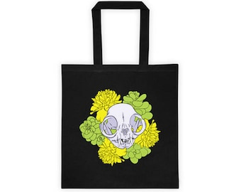 Persian Cat Skull with Succulents and Marigolds Canvas Cotton Tote