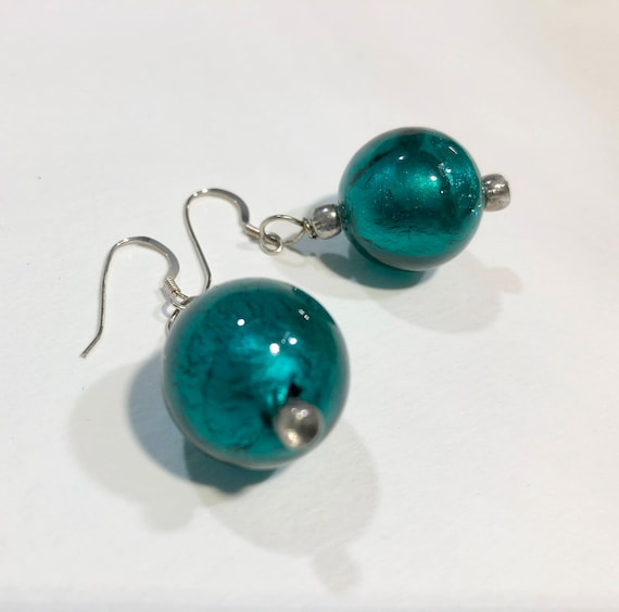 SJC10122 - Handmade blue round shimmering bead earrings with silver plated ear wires and seed beads