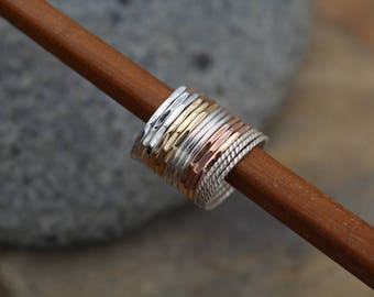 Petite 1.2mm 15x Ring Silver, Yellow & Rose Gold Stacking Ring Set - 15 Rings - 1.2mm Rings - Rose Gold Ring Set - Mulit Ring Stack