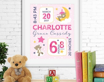 Birth stats print, wall art, birth announcement poster, birth details, customised, sleepy bear, clouds, stars, moon, baby girl, digital file