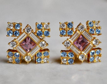 Multi-colored Pastel Rhinestone and Gold Earrings