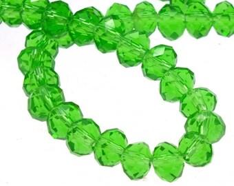 Green Rondelle Beads, 4x6 Green Rondelle Beads, Glass 4mm Beads, Glass 6mm Beads, 6mm Green Beads, 4mm Green Beads, Rondelle Beads