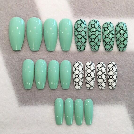 Seafoam Green And Black Fake Nails Faux Nails Glue On