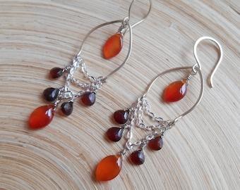 Caramela gemstone chandelier earrings red orange brown cluster dangle drop carnelian garnet sterling silver January birthstone gift for her