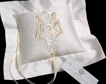 Personalized Ring bearer pillow Monogrammed silk ring bearer pillow jfyBride Style 4211
