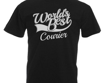 Courier Gift Adults Mens Black T Shirt Sizes From Small - 3XL