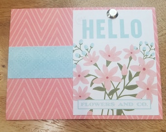 Hello, Pink Floral Seed packet Card