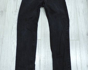 Men's Vintage CROCKER PEP! SKINNY Zip Fly Stretch Black Denim Jeans Size W29 L31