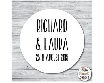 50 x PERSONALISED Wedding/Party Stickers/Labels Favours/Save The Date/Invites