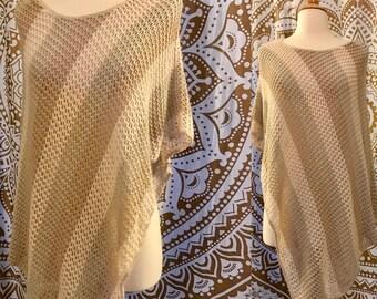 VTG 90s doe 70s Diagonal Striped Poncho Hippie Festival Shawl Open Knit Asymmetrical