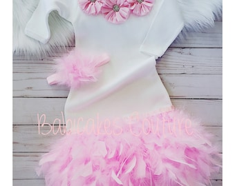 Feather Layette Gown, Pink Feather Baby Gown, Pink Feather Sleeper Gown, Feather Baby Dress, Newborn Take Home Outfit, Newborn Photo Outfit