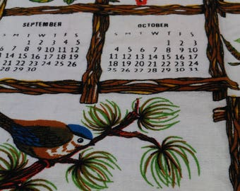 Vintage Tea Towel 1981 Calendar Trees & Birds Blue Red Yellow (2)