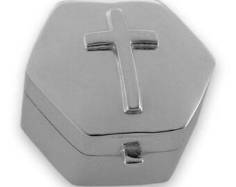 Hallmarked Sterling Silver - Cross KEEPSAKE / TOOTH BOX - Christening Gift