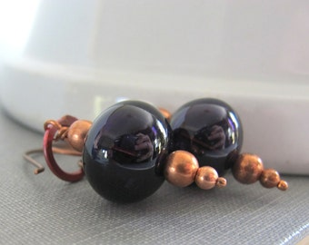 Glass Earrings, Hollow Glass, Dark Purple Glass, Copper Earrings, Copper Jewelry, Dangle Earrings, Beaded Jewelry, Glass Jewelry