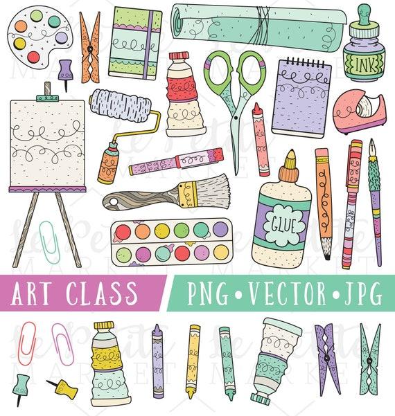 school supplies clipart art class clip art clipart for teachers rh etsystudio com Elementary Classroom Clip Art Elementary Classroom Clip Art
