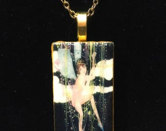 fairy tales fairy - Domino pendant necklace - vintage matchbox label