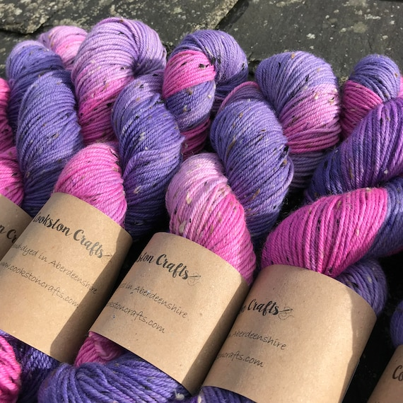 100g donegal tweed merino DK, hand dyed in Scotland, pink purple