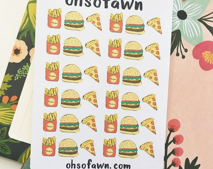 Hand Drawn Fast Food Planner Stickers