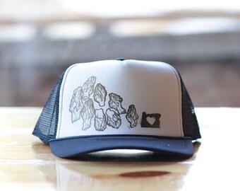Morels on a black trucker hat.
