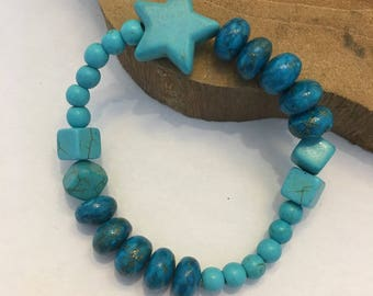 Bracelet turquoise star and Howlite turquoise