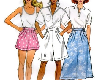 Shorts & Skirt Sewing Pattern, Flared Skirt, Shorts in Two Lengths w/ Front Pleats, Shaped Pockets, Butterick 3830 Size 8-10-12, CUT size 12