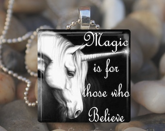 UNICORN MAGIC Fairy Tale Fantasy Glass Tile Pendant Necklace Keyring