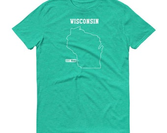 Wisconsin Shirt, Wisconsin Gift, State Tshirt, Christmas Gift, Gift for Him, Gift for Her, State Outline Tshirt