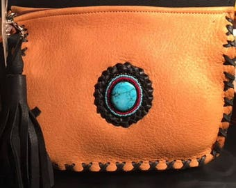 Turquoise Cabochon Leather Clutch Bag