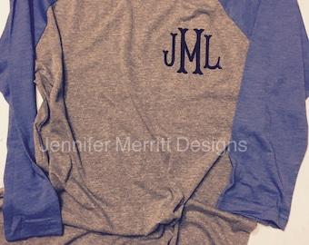 Monogram shirt, baseball tee monogram, monogrammed raglan, monogram shirt, monogrammed shirt,  custom raglan, monogrammed baseball tee