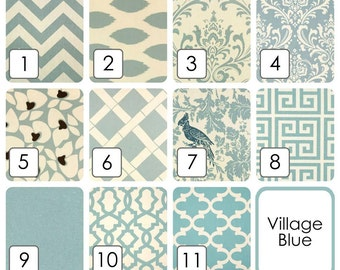 Village Blue Curtain Panels. 25 or 50 Inch Widths. 63, 84, 96, 108, 120 Lengths. Window Treatments. Dusty Blue and Cream. Drapery Curtains.