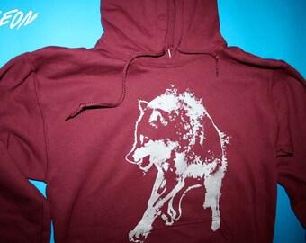 pullover wolf hoodie, silver wolf hoodie, wolf clothing, maroon sweatshirt, wolf hoodie, 1AEON maroon unisex Hoodie - size S-XXXL