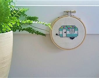 "Vintage Trailer 3"" Completed Cross Stitch"