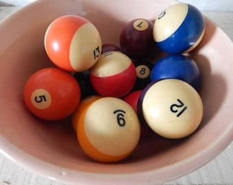 Bakelite Table Pool Billiard Balls - Vintage 1950s Bakelite Pool Balls - Great for Game or Family Room - 1950s Billiard Balls - Set of 13